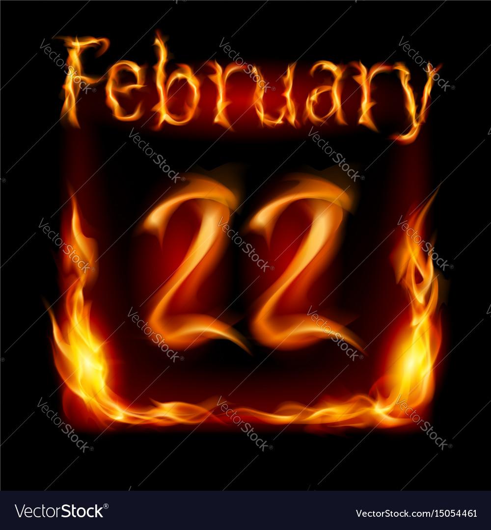 Twenty-second february in calendar of fire icon