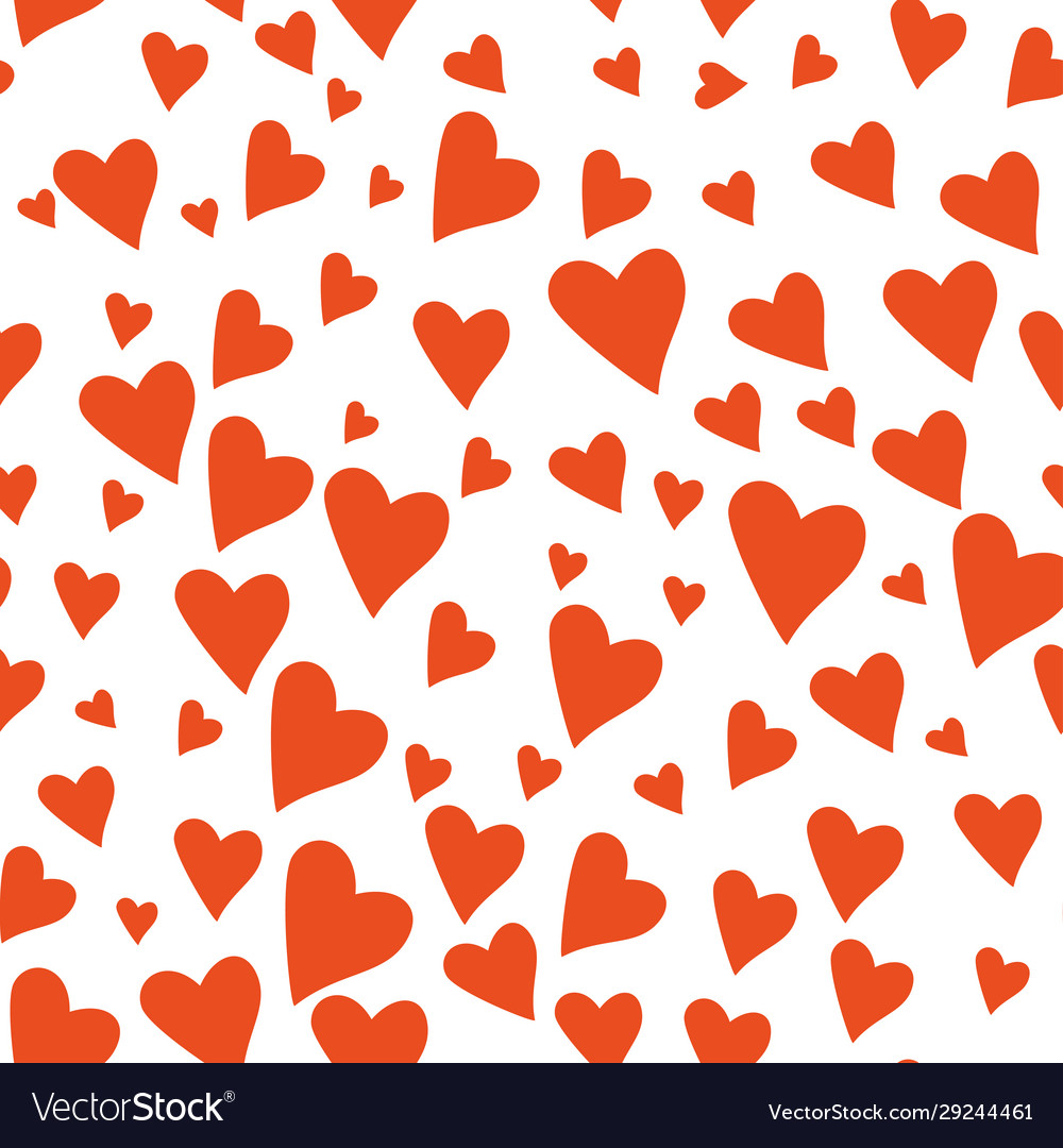 Valentines day hearts seamless pattern hand drawn