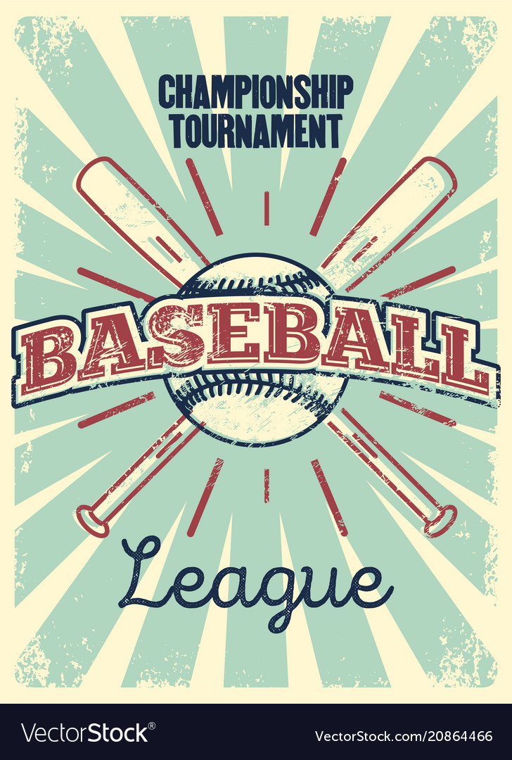 Baseball typography vintage style grunge poster