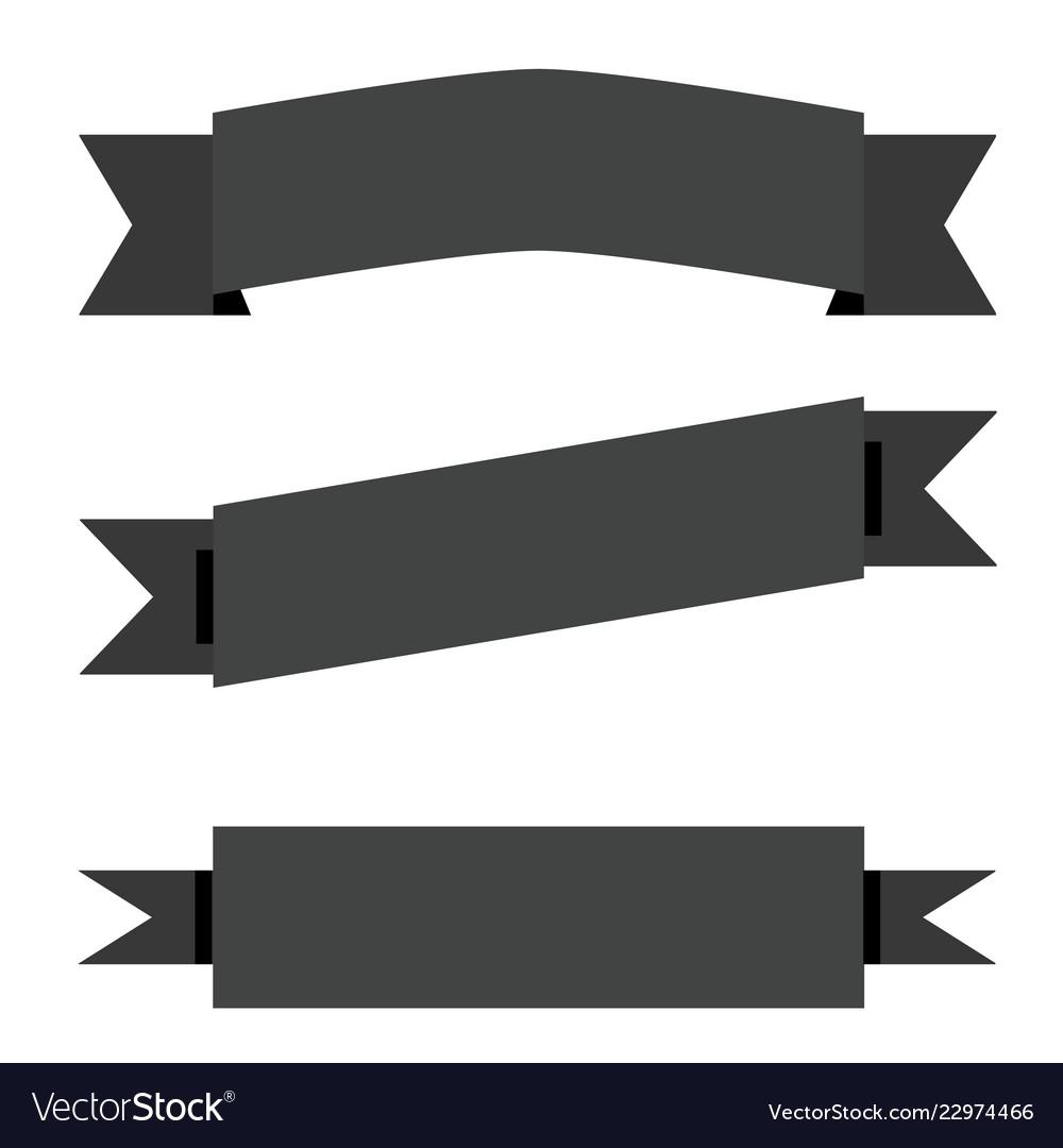 Black ribbon banner on white background flat