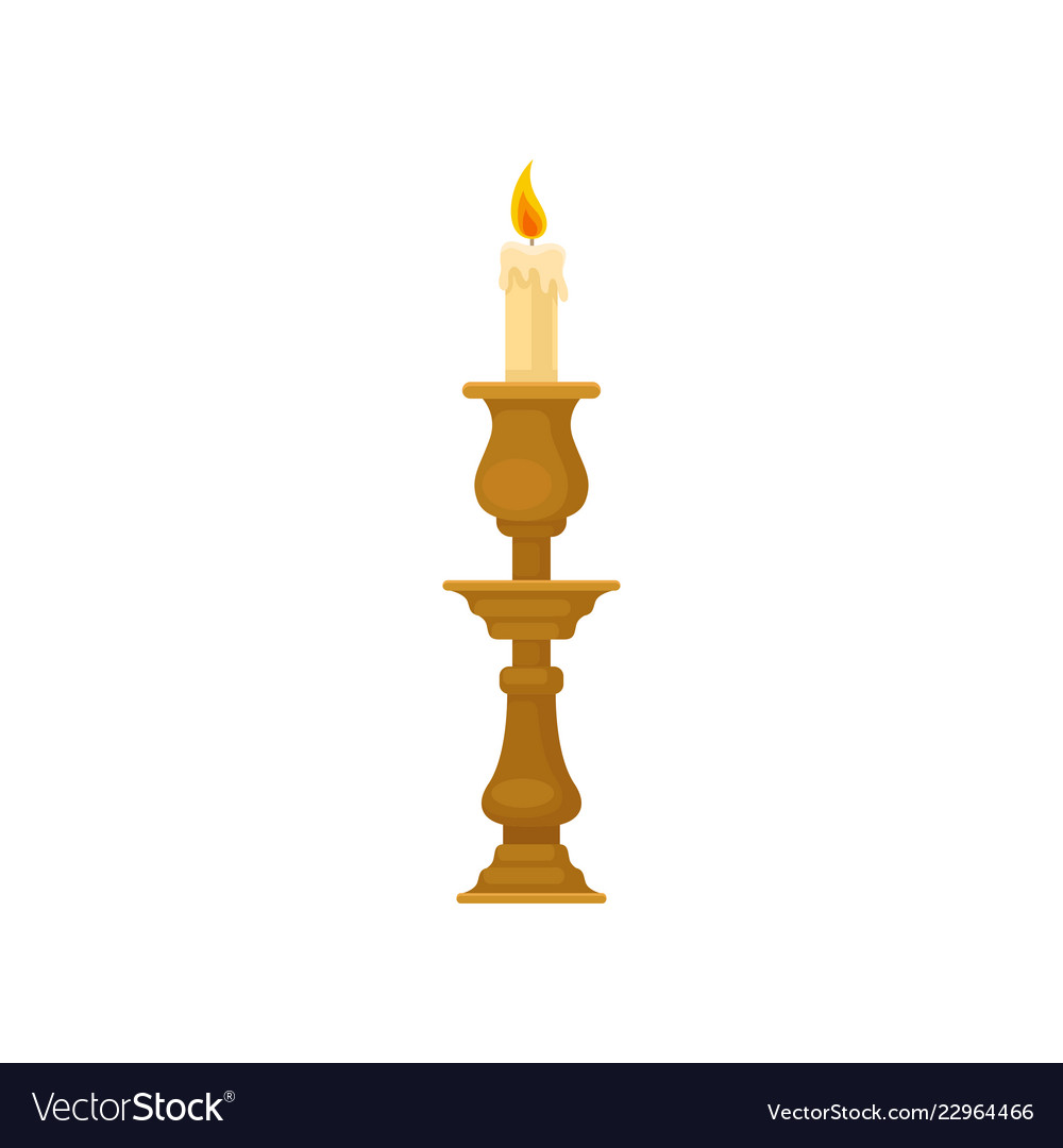 Candle In A Candlestick Vintage Candle Holder Vector Image