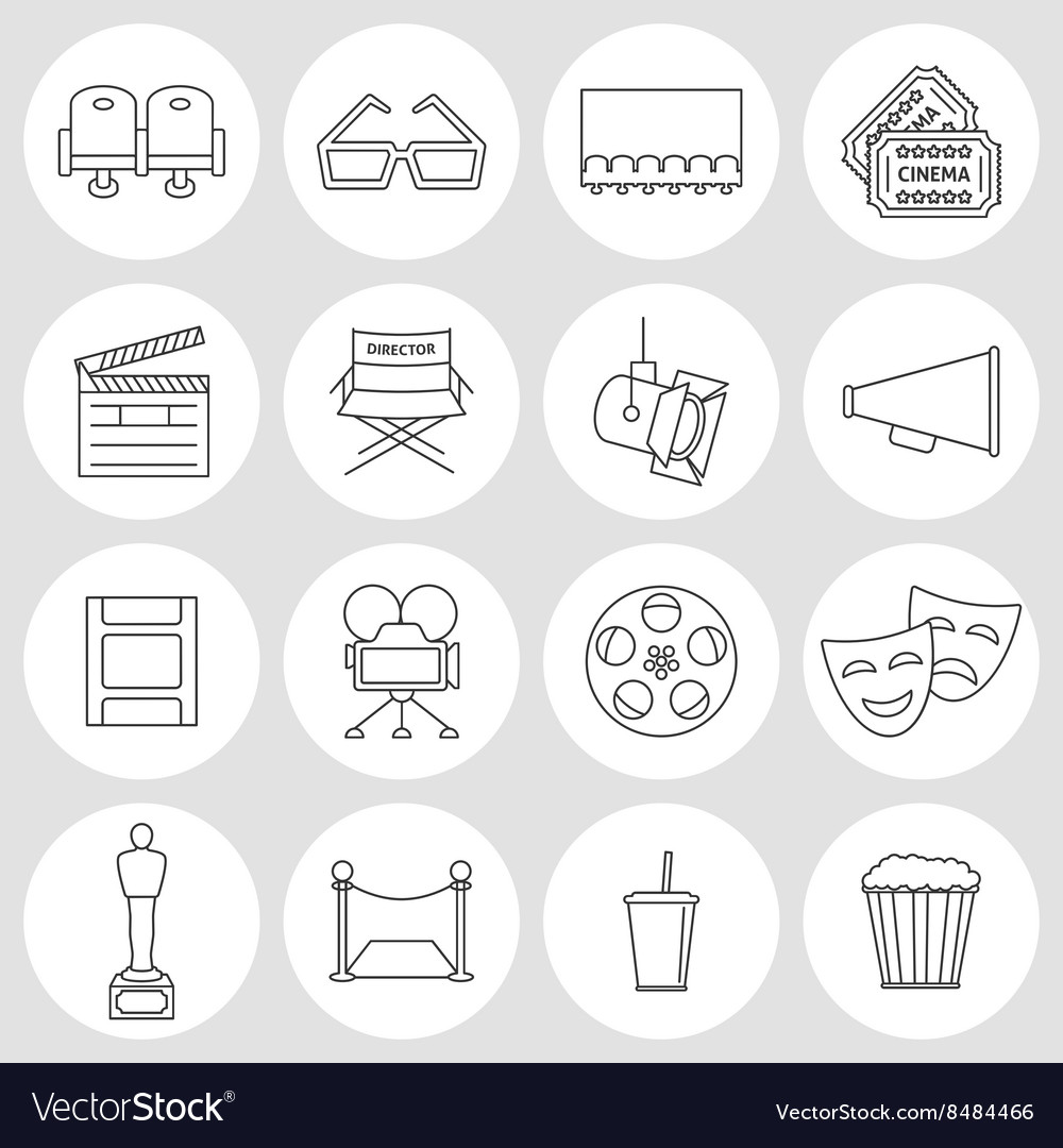 Cinema outline icons vector image