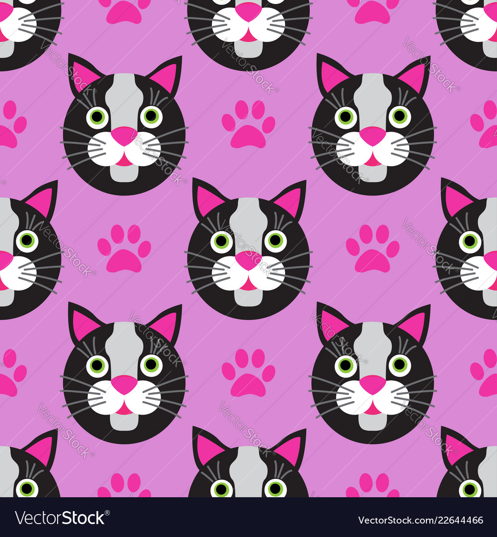 Cute cats faces seamless kids pink pattern