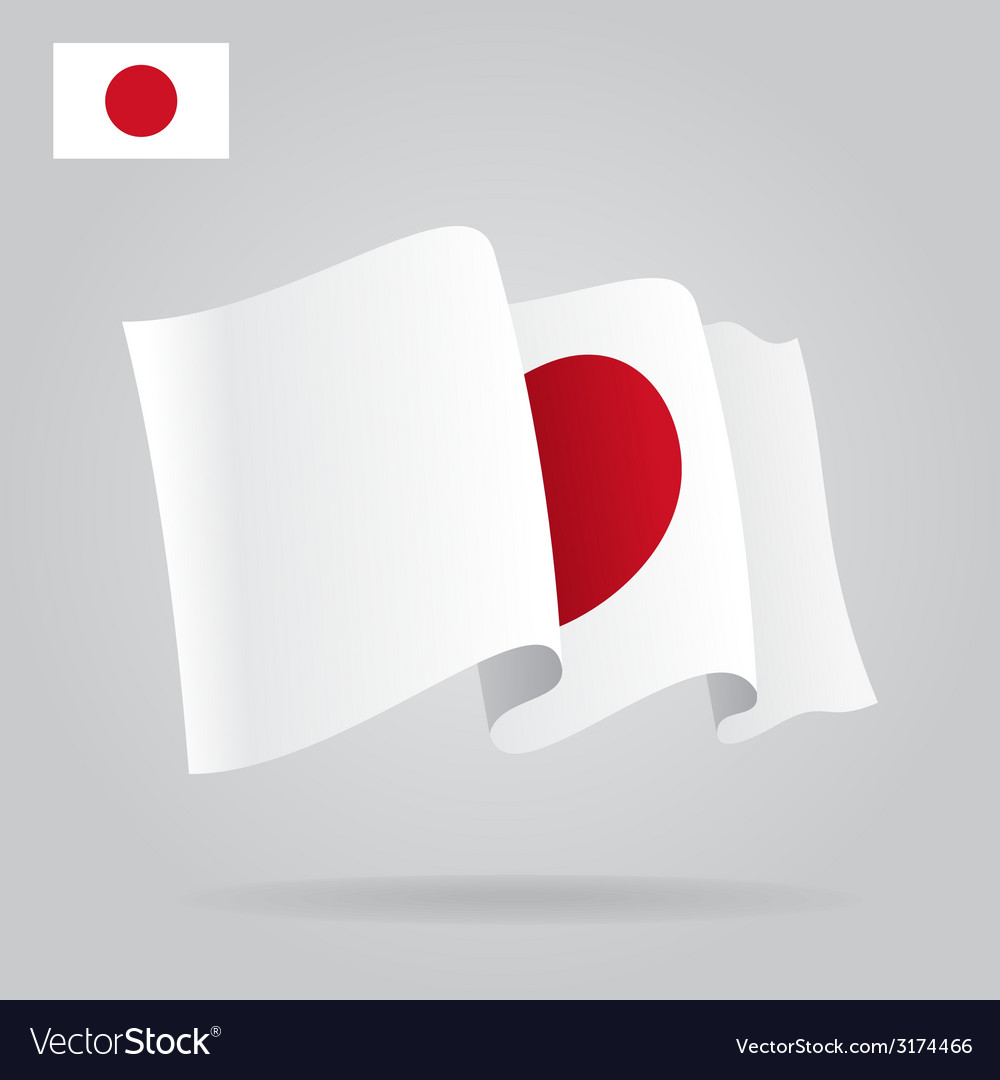 Flat and waving Japanese Flag
