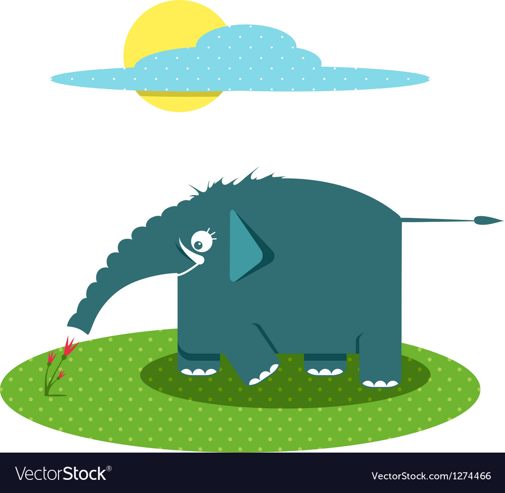 Funny Graphic Elephant Smelling Flowers vector image