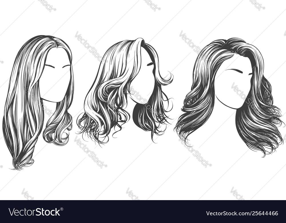 Girl set beautiful woman face girl