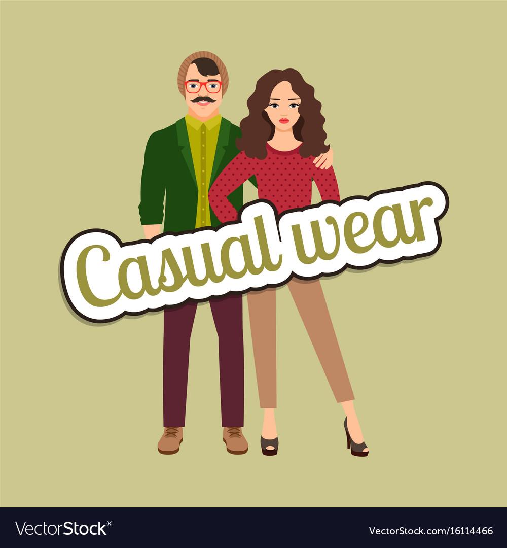 Happy couple in casual wear style