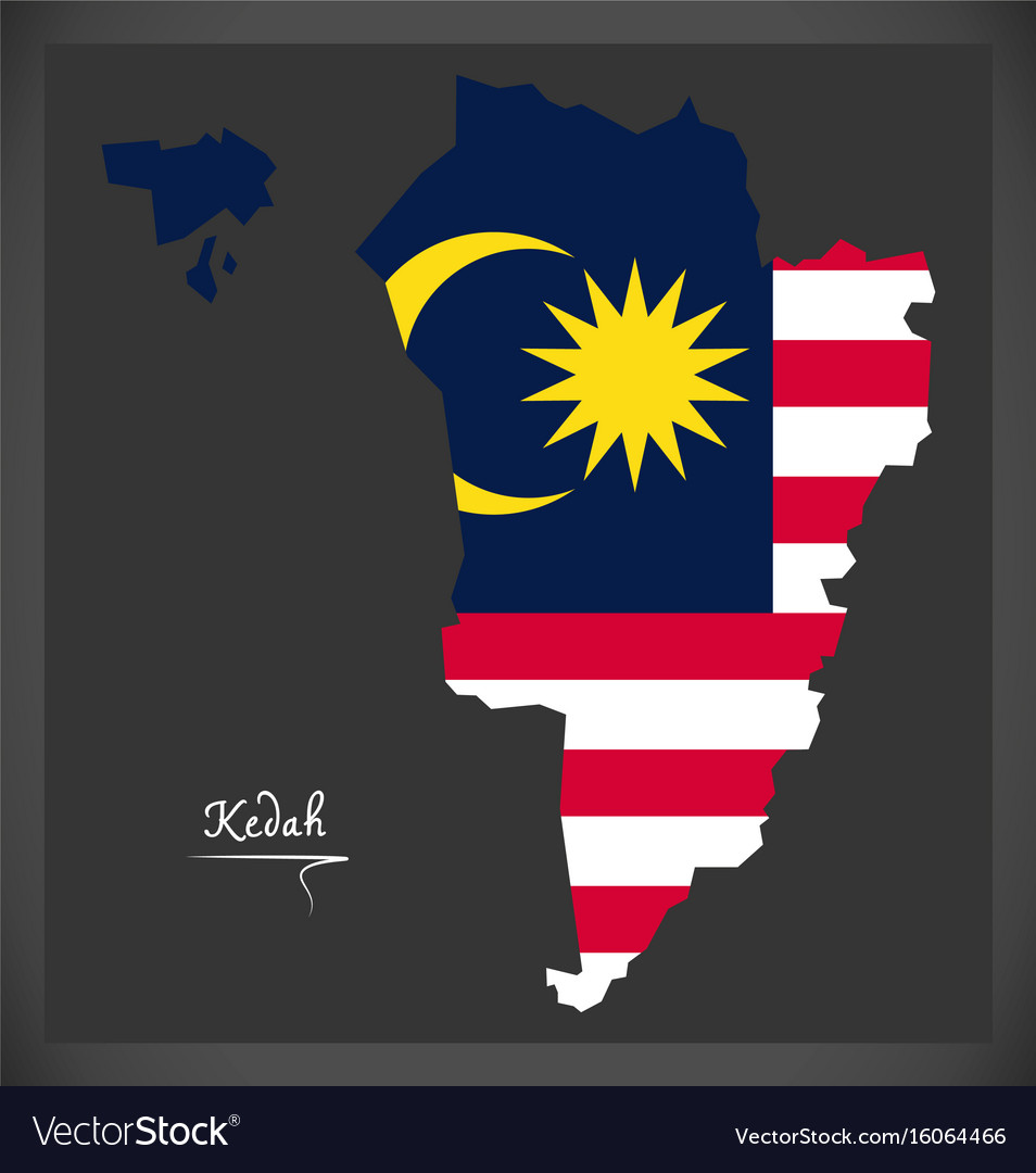 Kedah malaysia map with malaysian national flag vector image