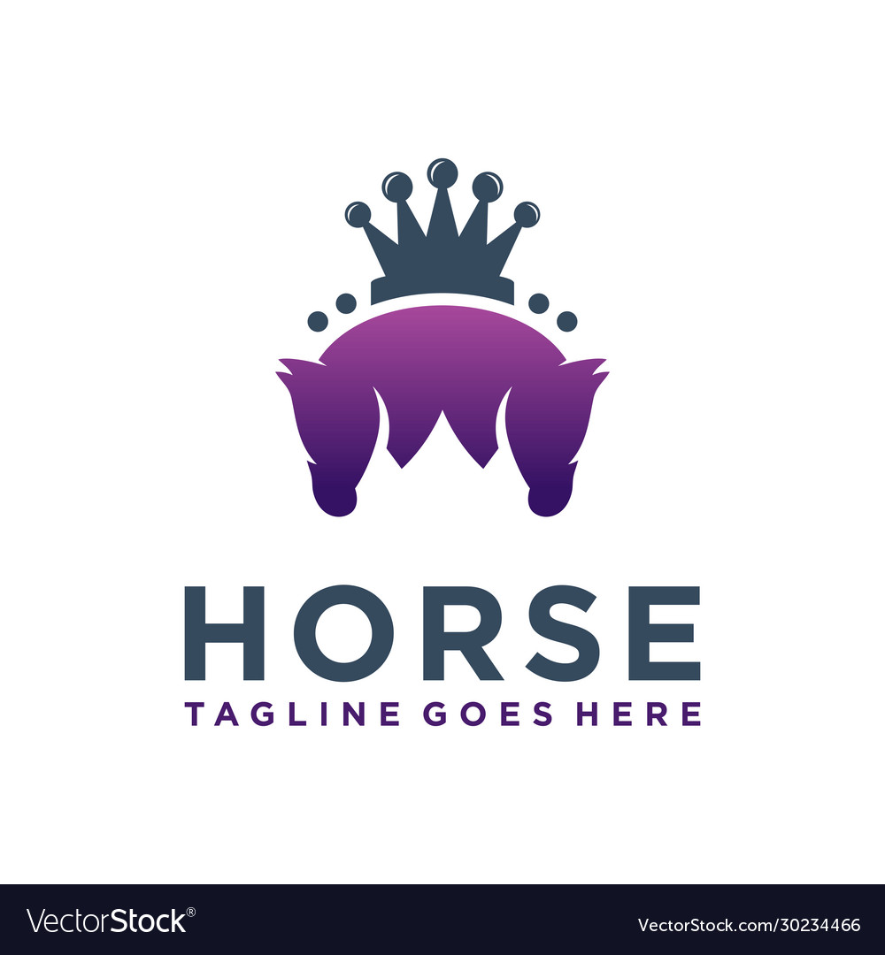 King Horse Head Logo Design Royalty Free Vector Image