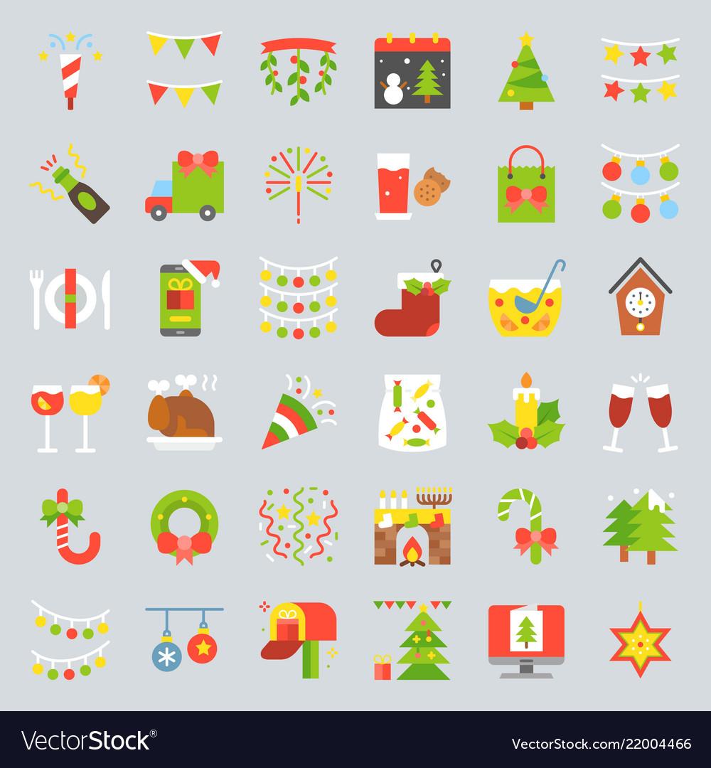 Merry christmas icon set 3 flat design
