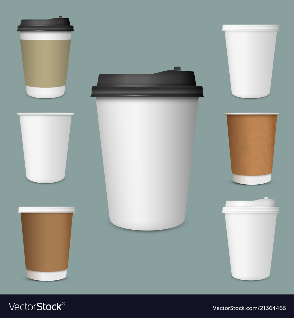 realistic set of paper coffee cups royalty free vector image