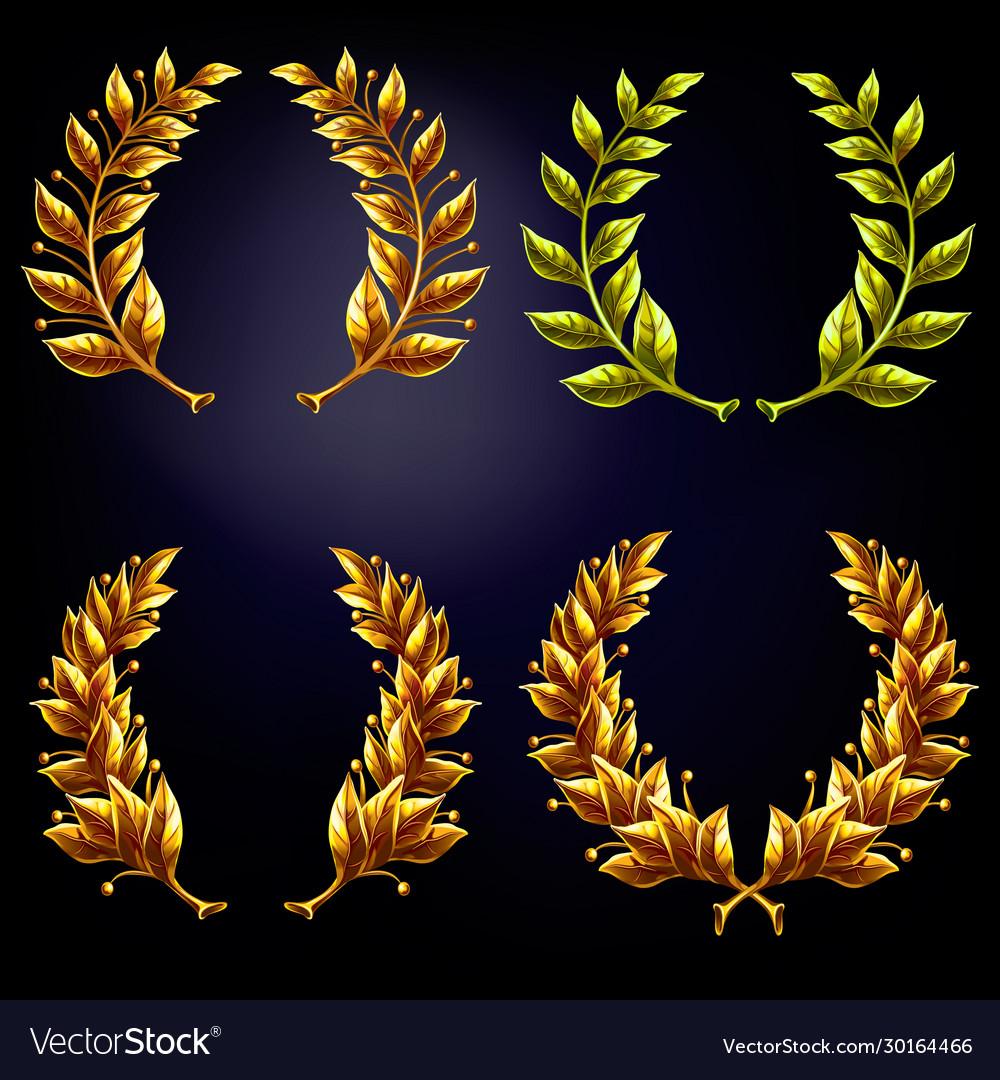 Set golden laurel wreaths