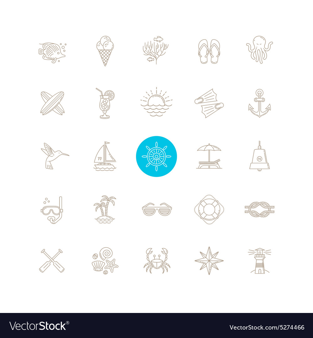 Summer vacation and travel icons set