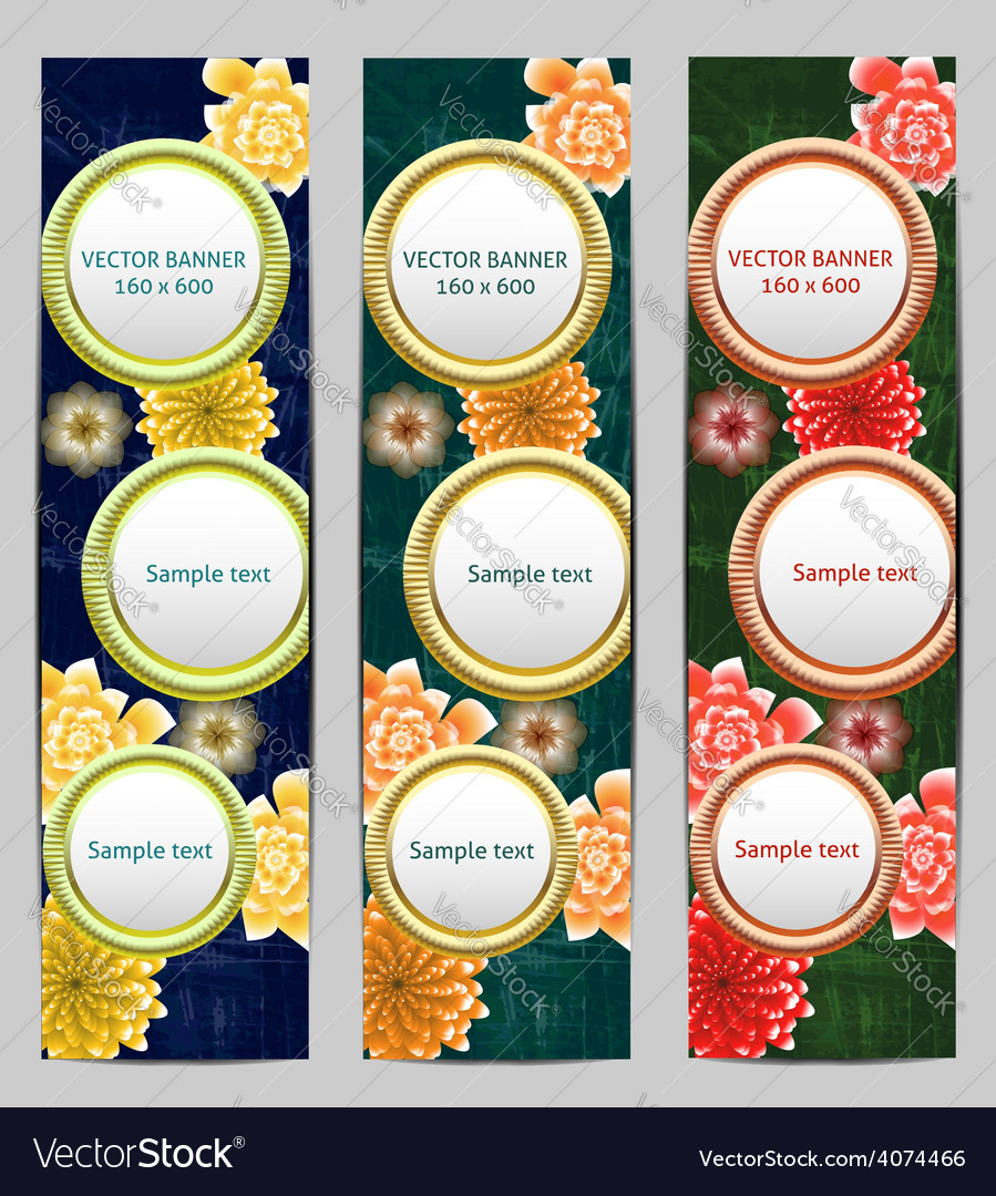 Vertical Floral Banner Bookmark background