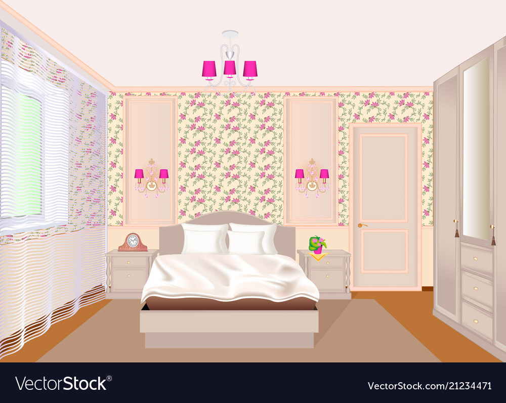 A bedroom interior with light floral wallpaper