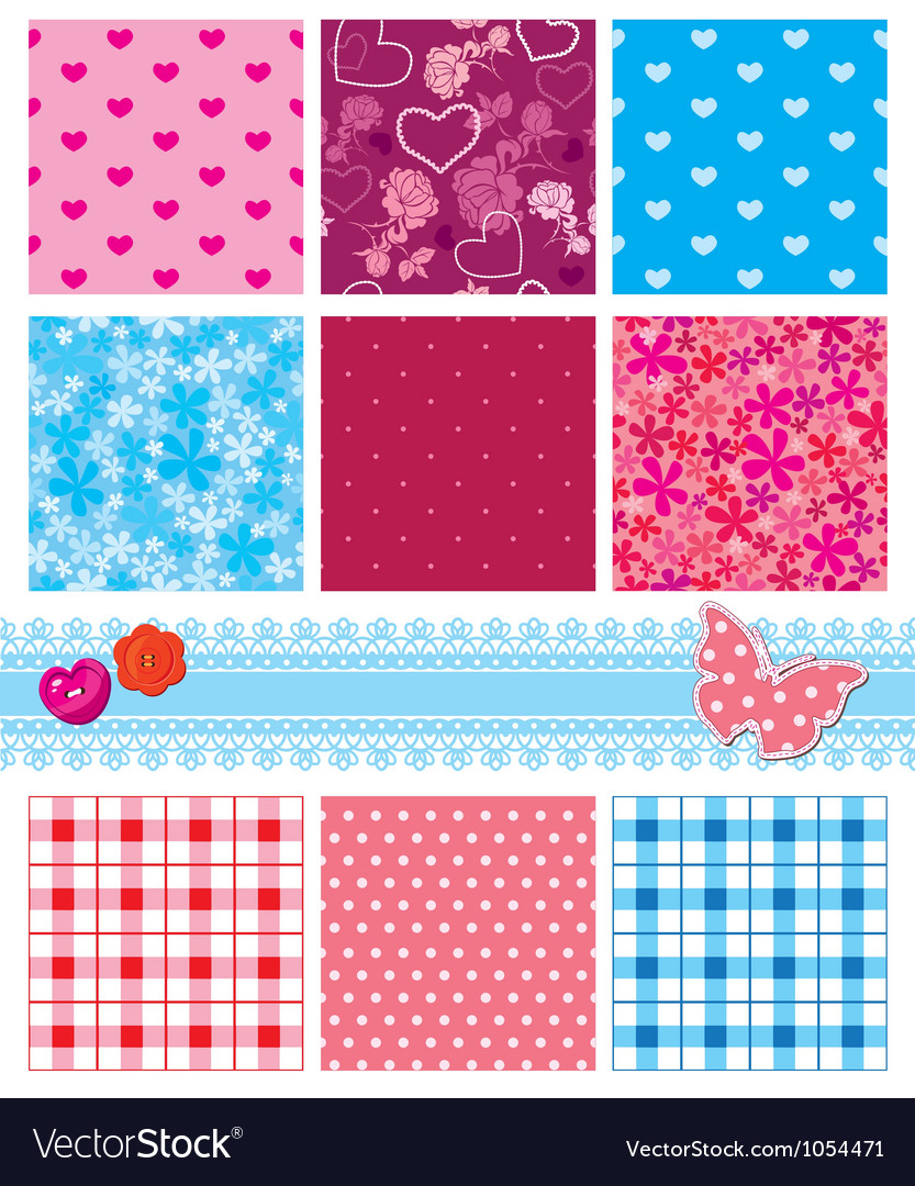 Fabric textures in pink and blue colors - seamless