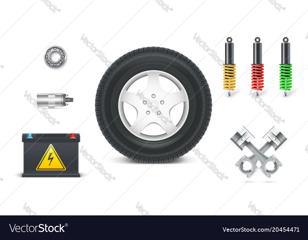 Icons of car parts for garage auto services set