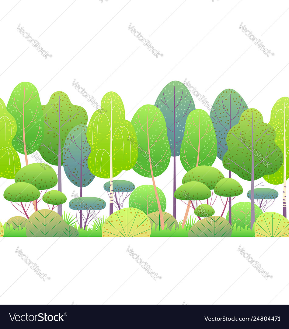 Line horizontal seamless border with springtrees