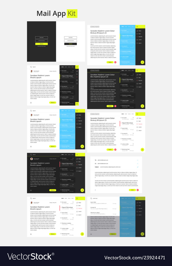 Material design mail app kit for tablet and mobile