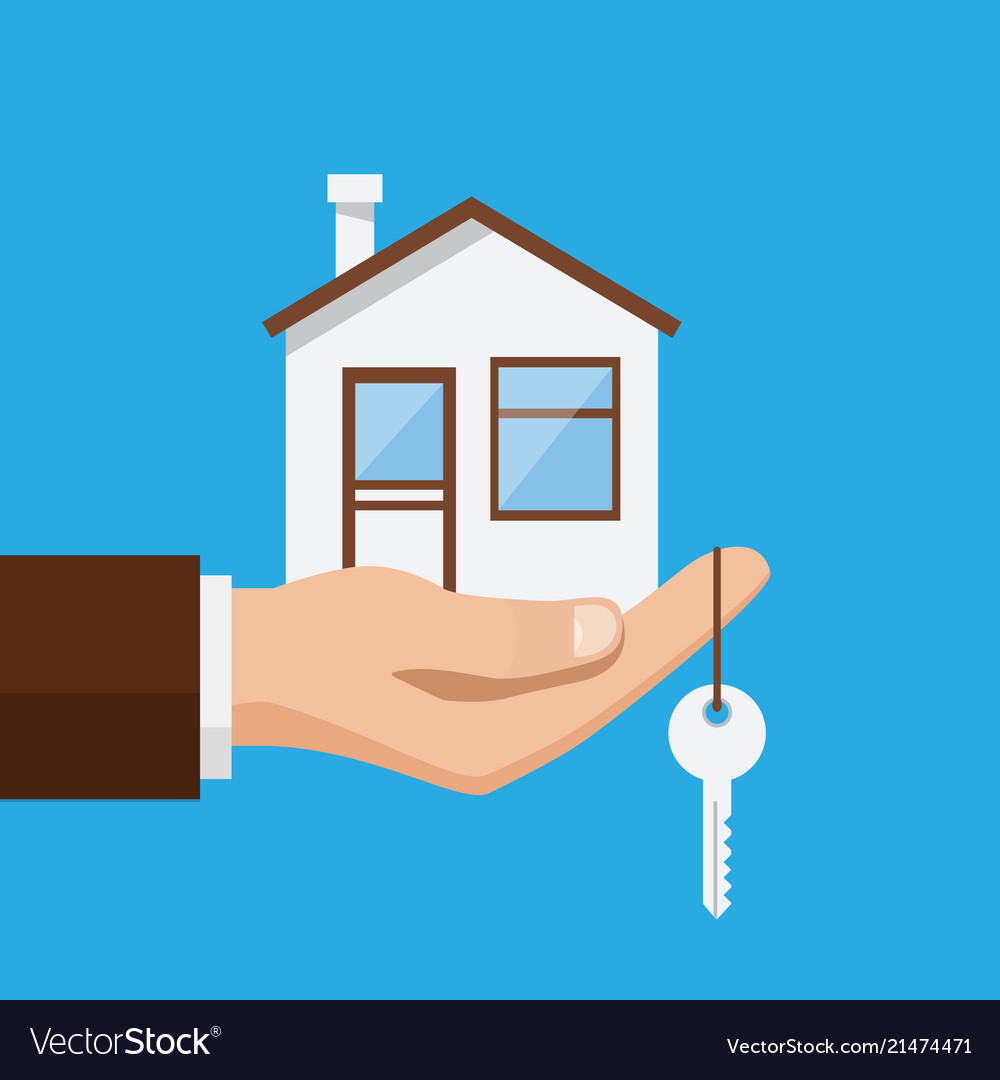 Real estate offer businessman holding a house and
