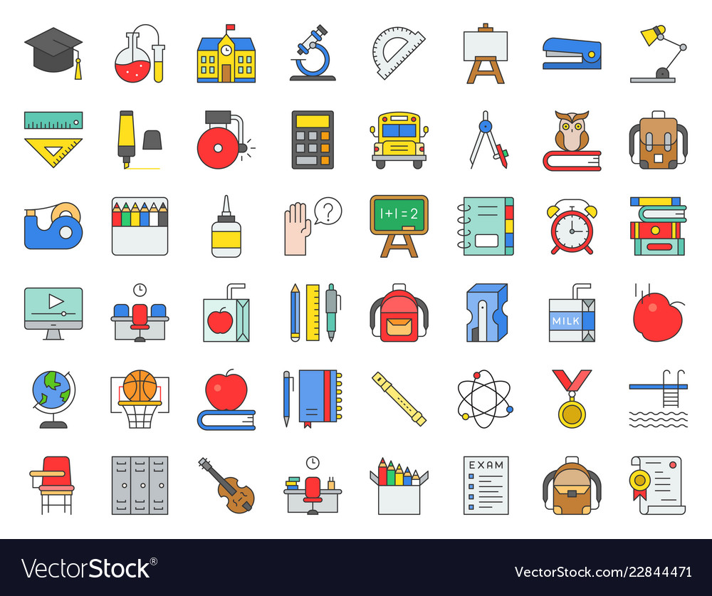 School and education related icon set filled