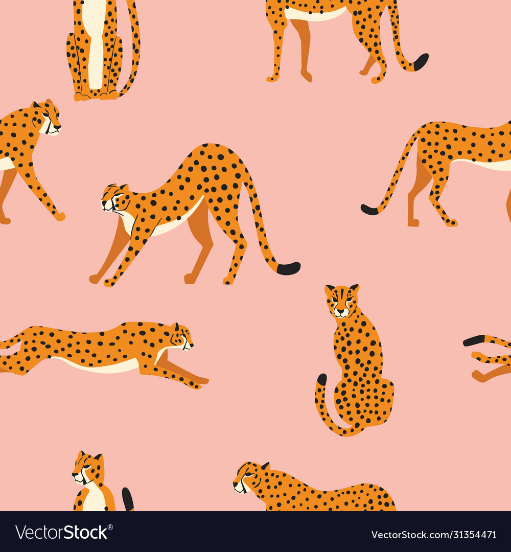 Seamless pattern with hand drawn exotic big cat