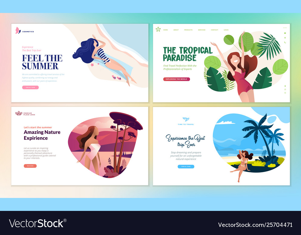 Set flat design web page templates