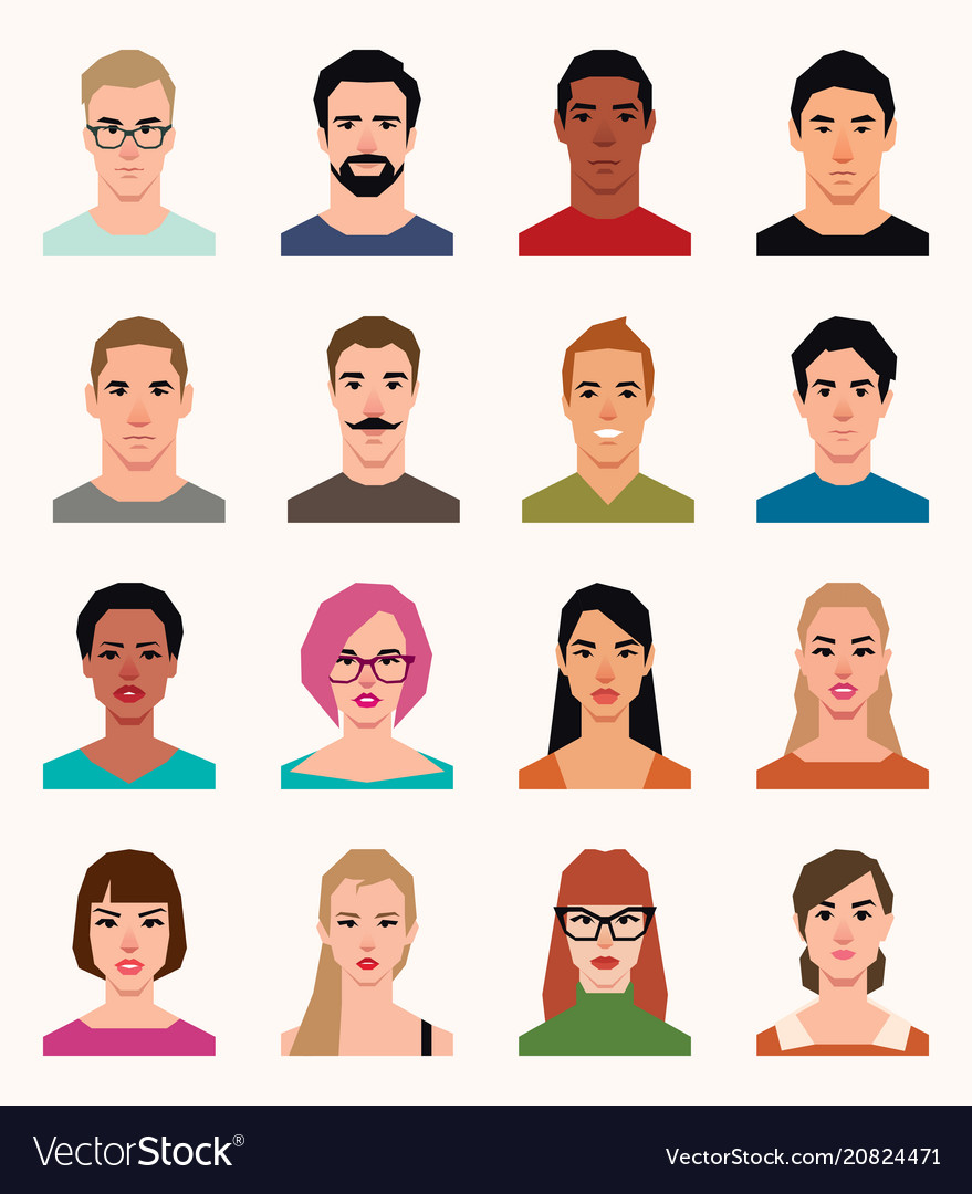 Set of avatars icons men and women of different vector image