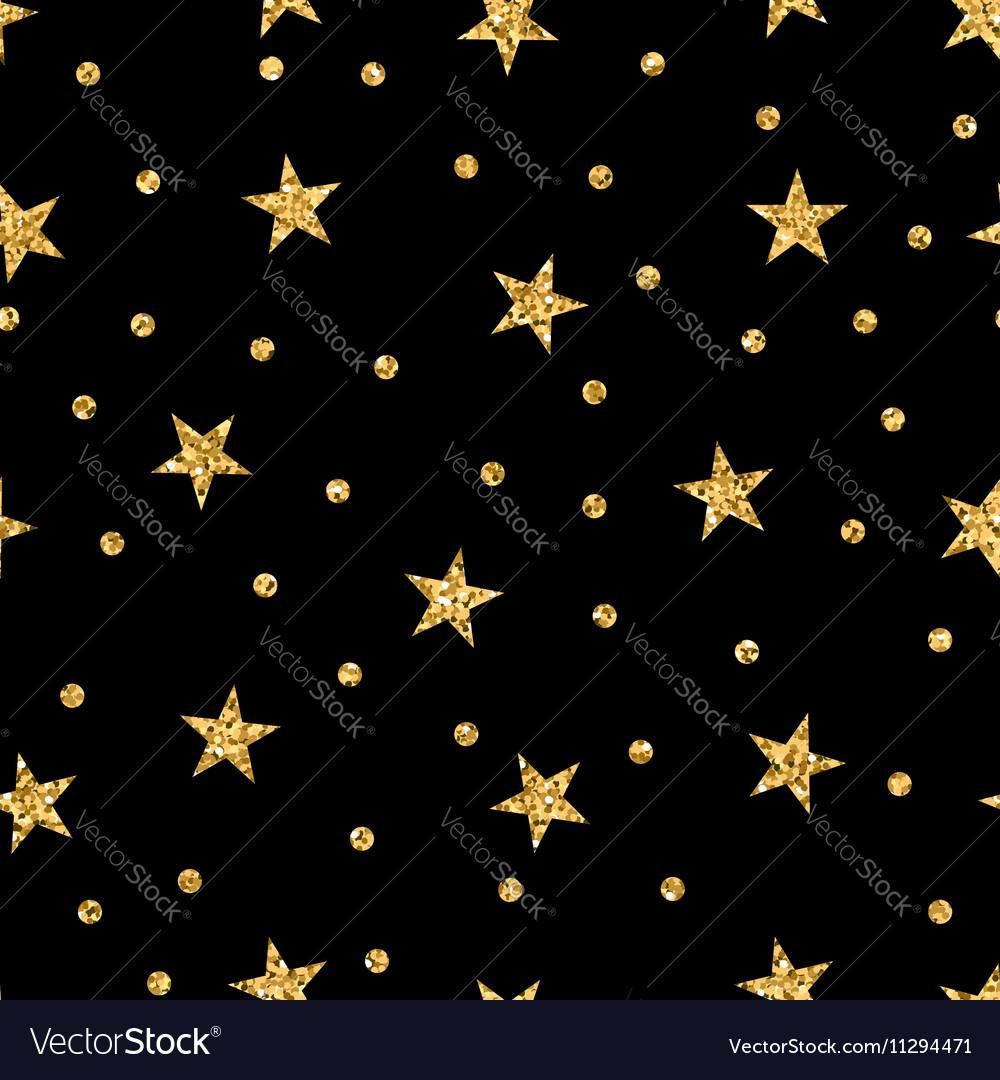 Stars seamless pattern gold