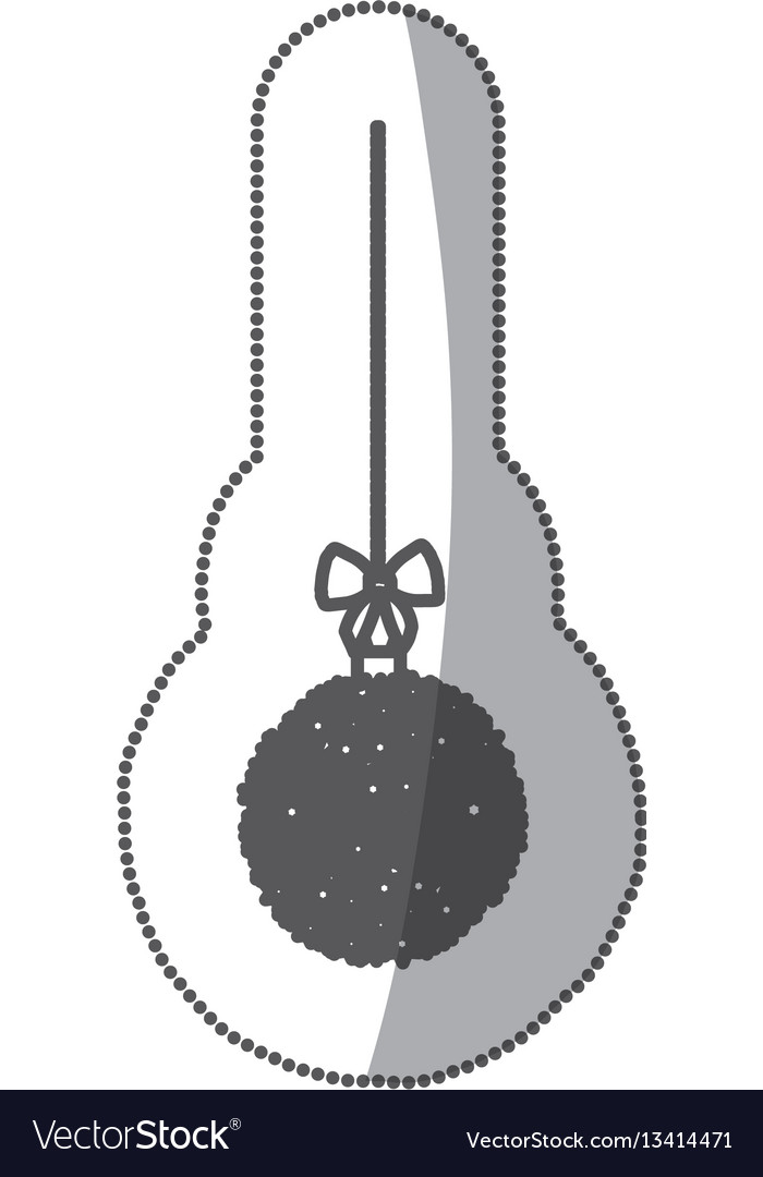 sticker monochrome silhouette hanging christmas vector image