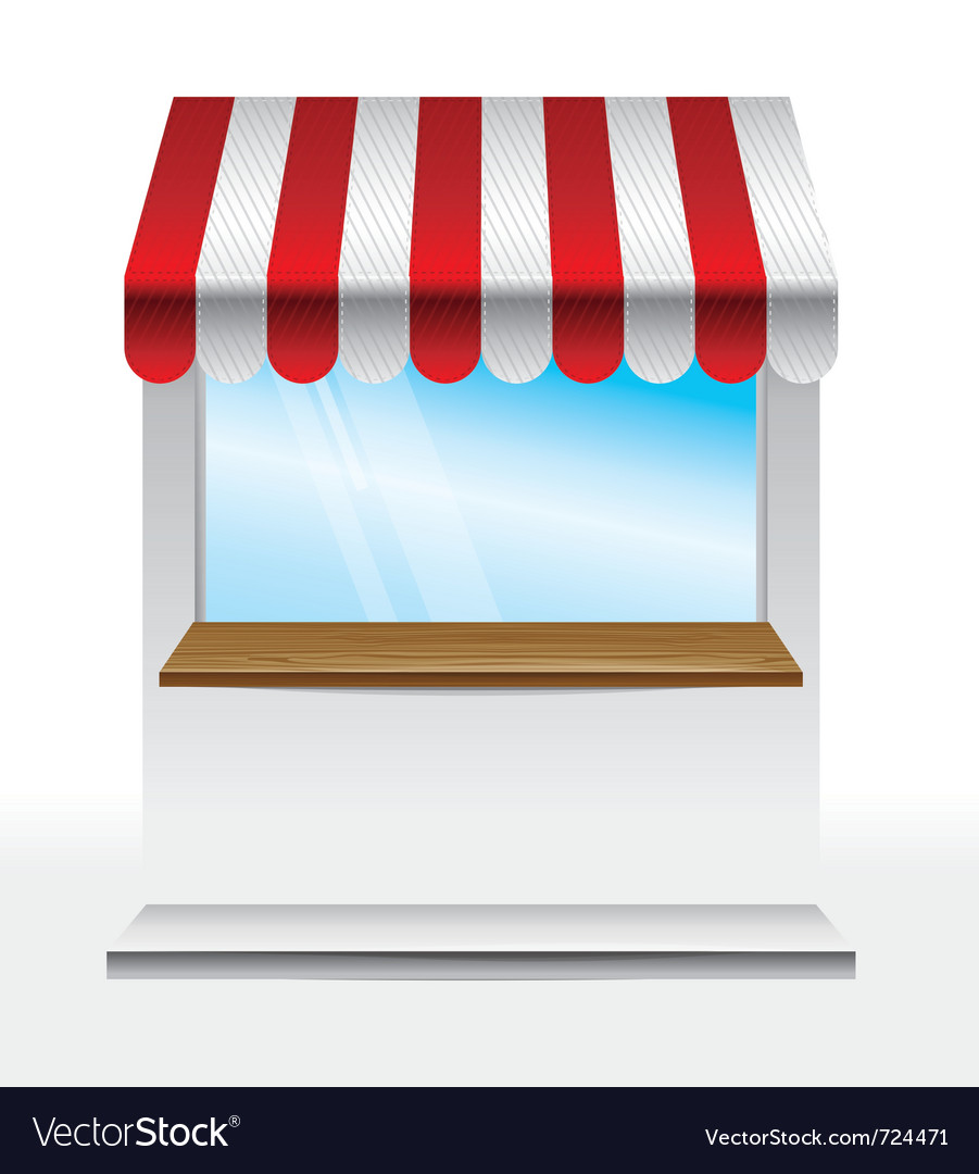 Store with striped awning vector image