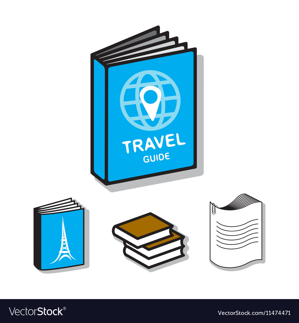 Travel guide book flat icons vector image