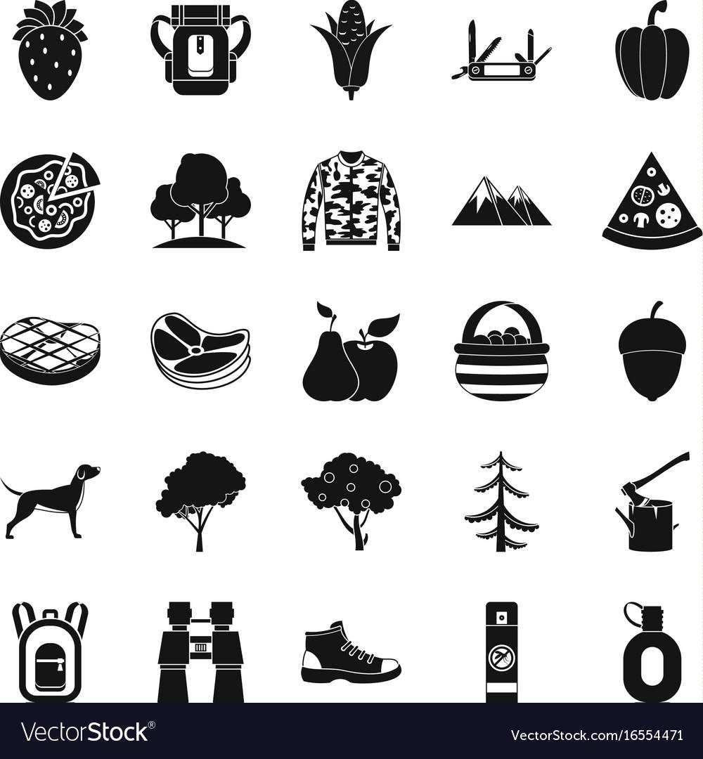 Wildlife icons set simple style