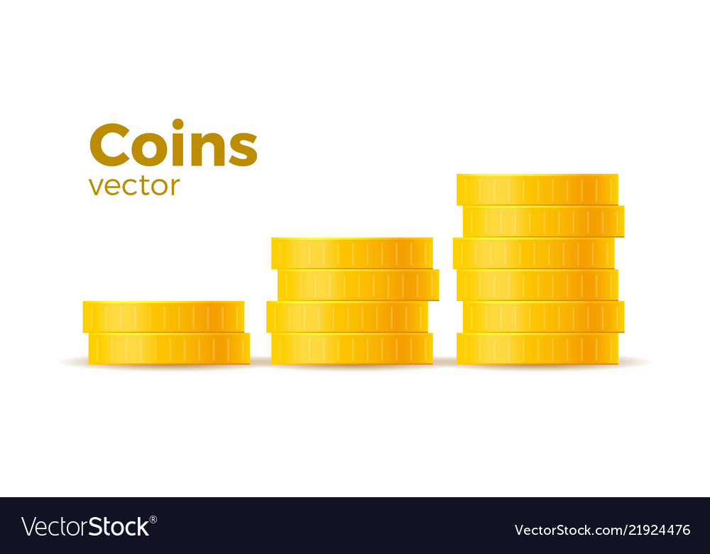 3d realistic gold coins set on white in different