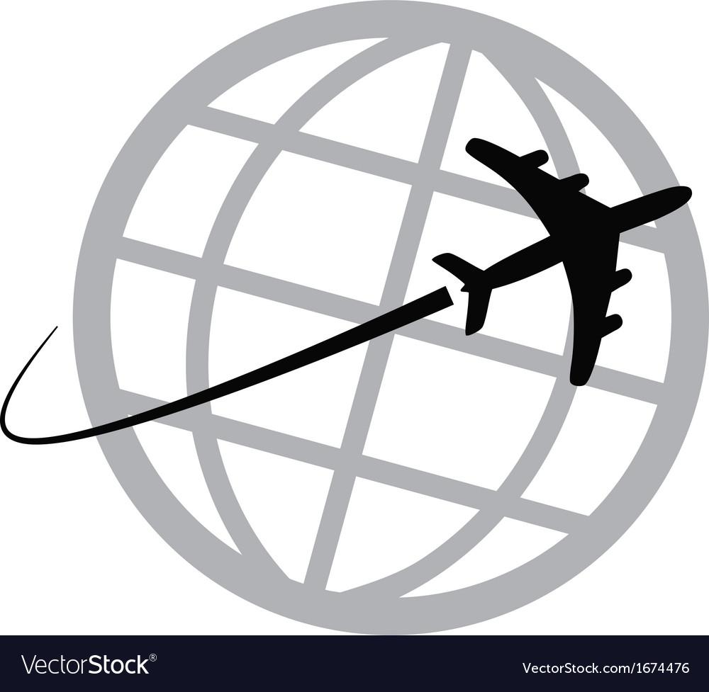 Airplane icon around the world vector image