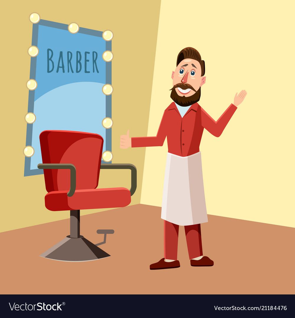 Barber in the barber shop cartoon style