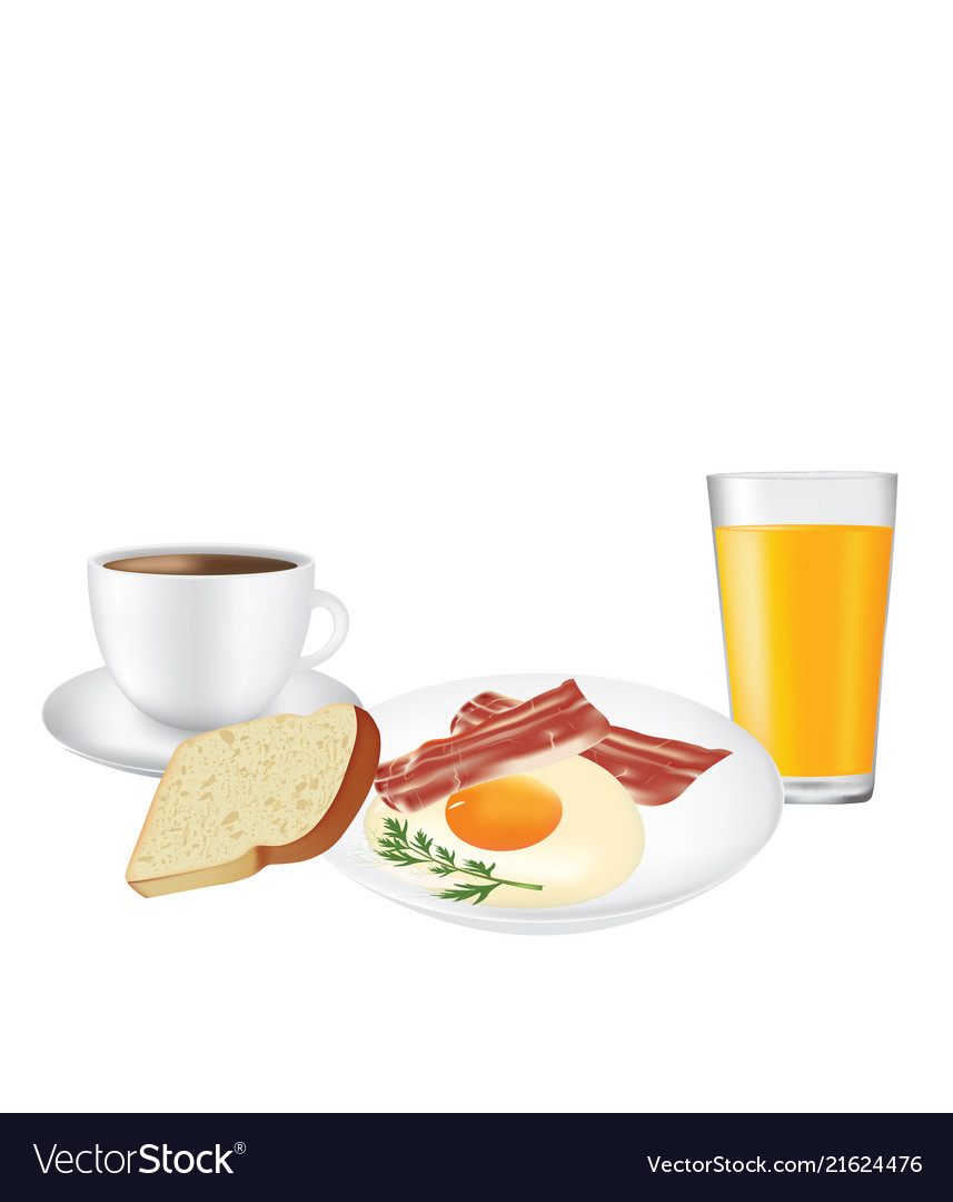 Breakfast set plate with coffee and juice