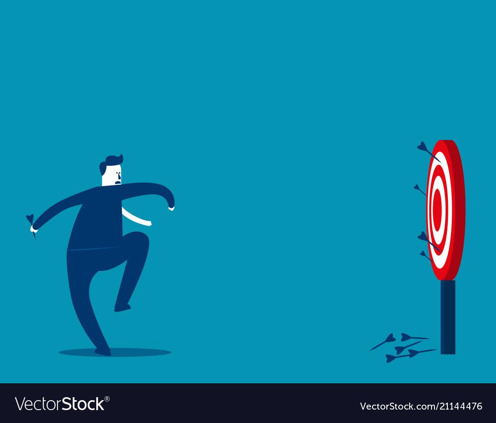 Businessman not hits dartboard at a target