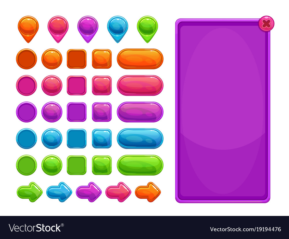 Cute colorful abstract assets for game or web