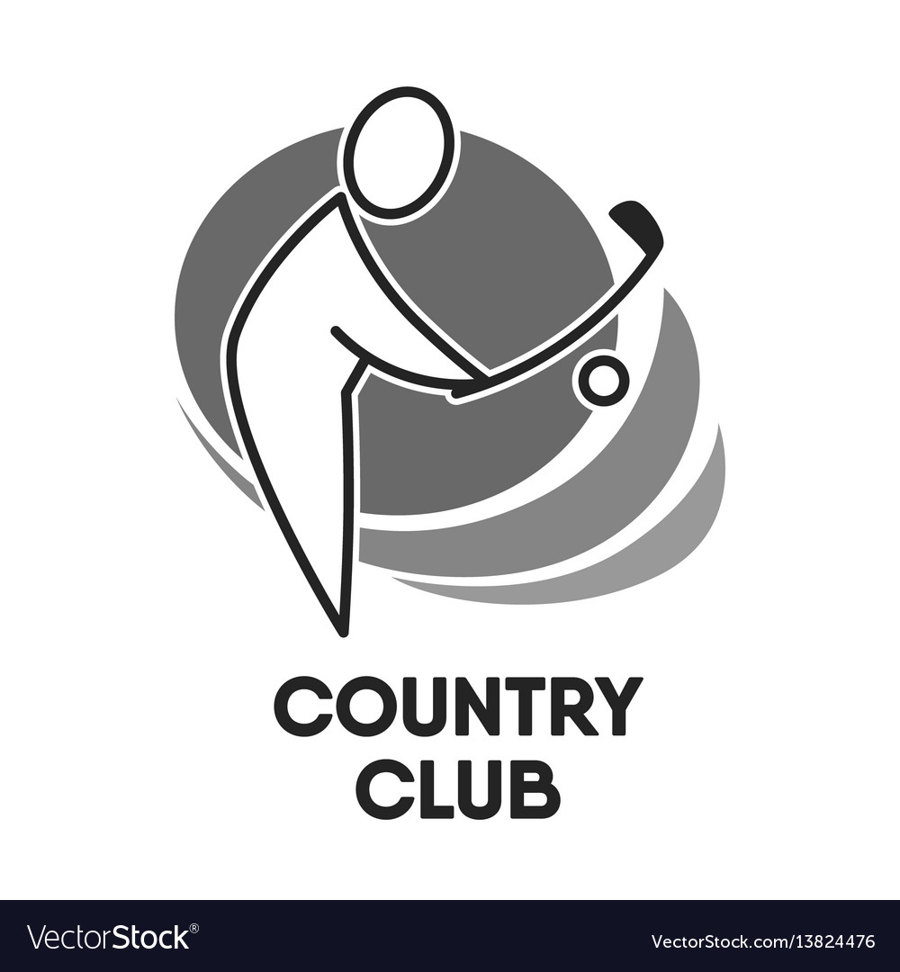 Golf country club logo colorless template on white