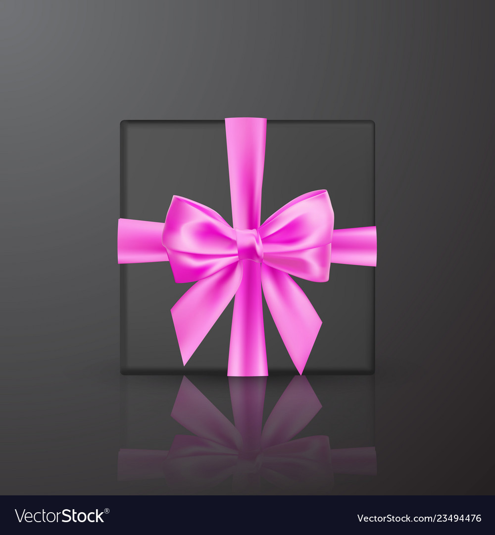 Realistic black gift box with pink bow and ribbon
