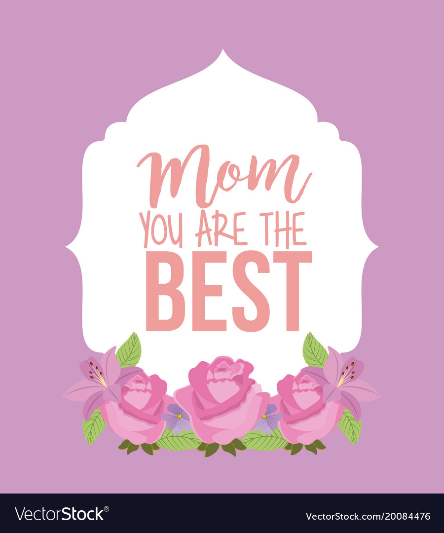 Retro label pink roses mom the best card