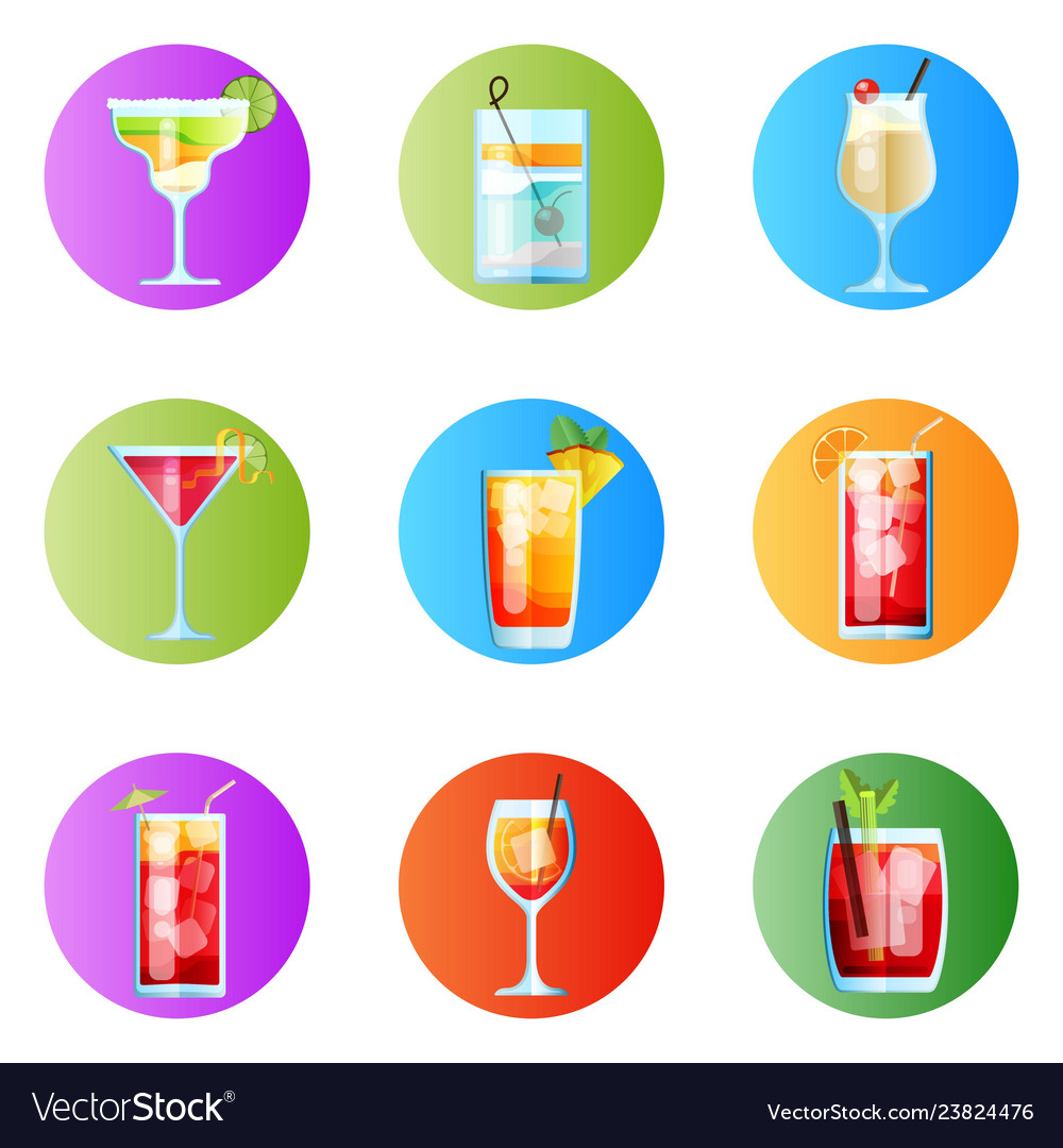 Set nine tropical cocktails rounded image vector