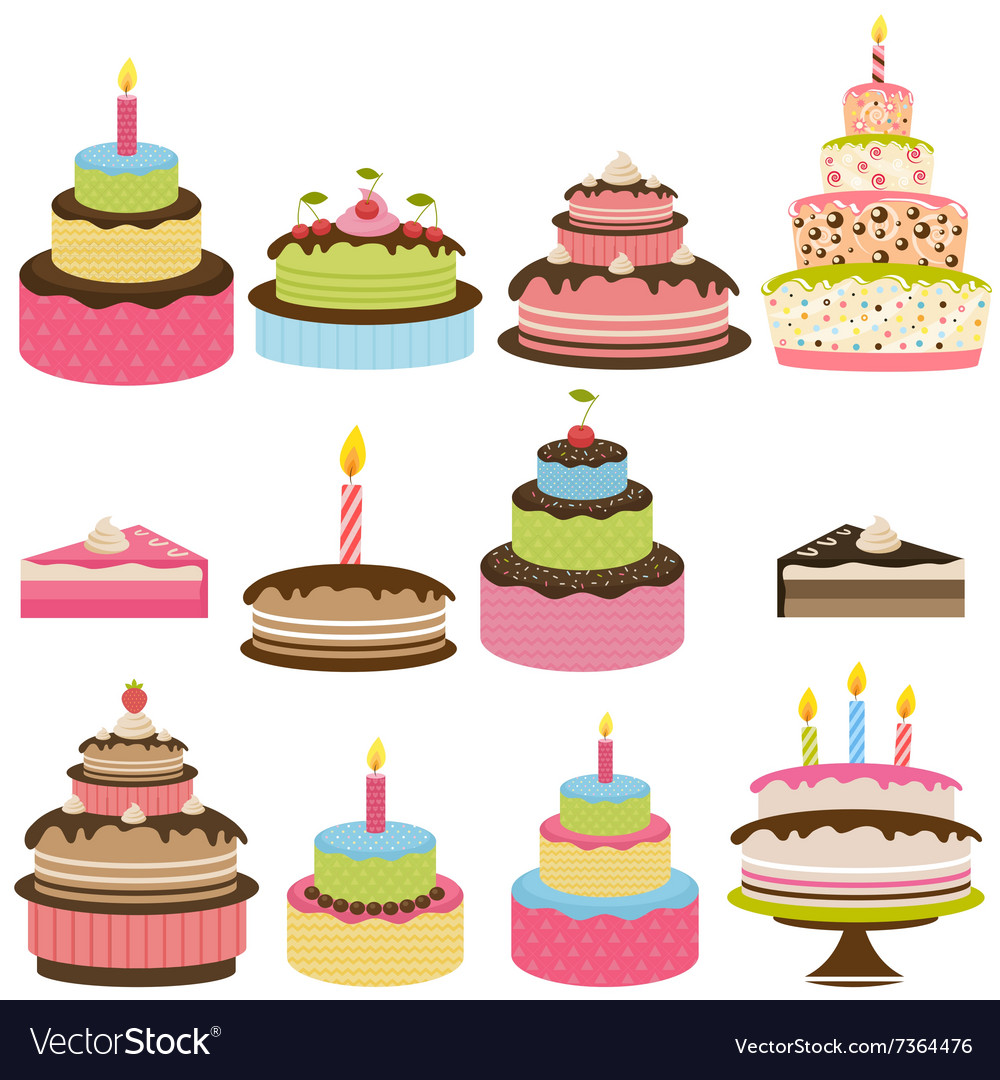 Set Of Colorful Birthday Cakes Royalty Free Vector Image