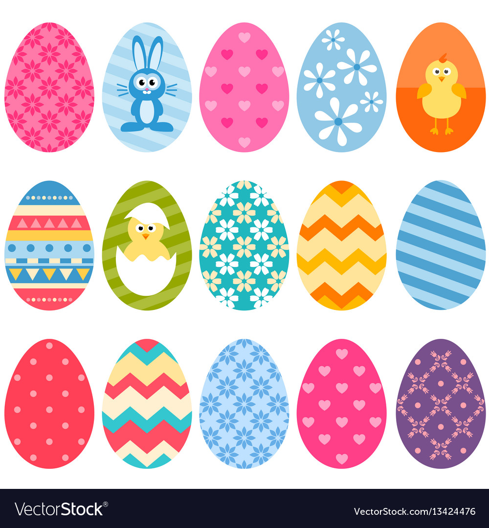 Set of fifteen colorful easter eggs icons