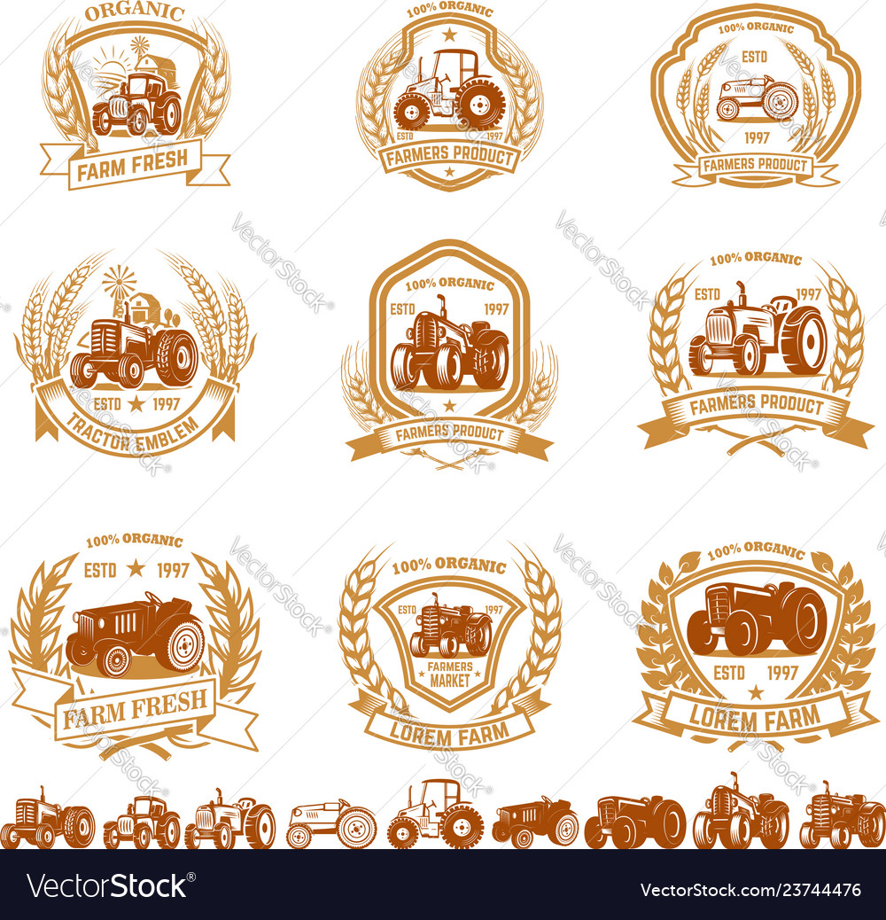 Set of vintage farmer emblems with tractors