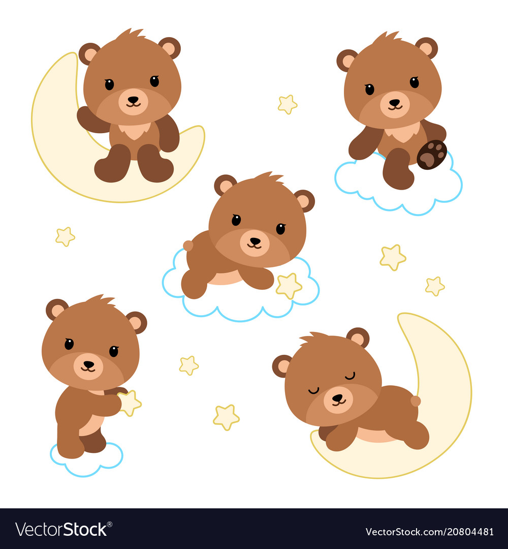 Adorable flat bears on clouds or moon