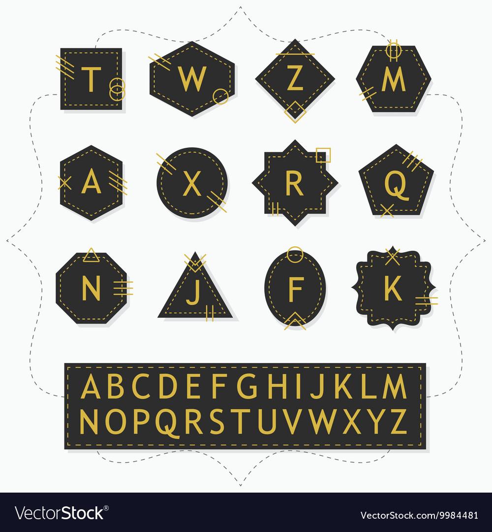 Black and golden silhouette alphabet emblem set