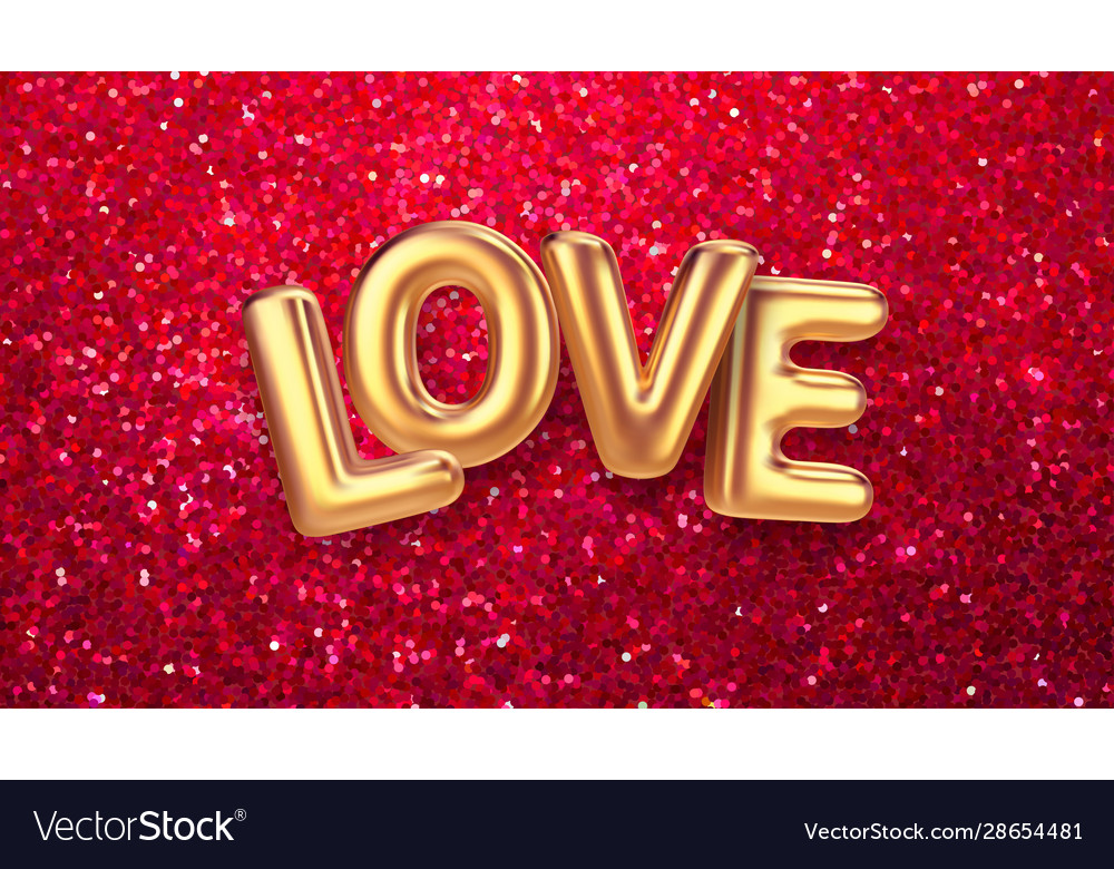 Gold balloons happy valentines day lettering on a