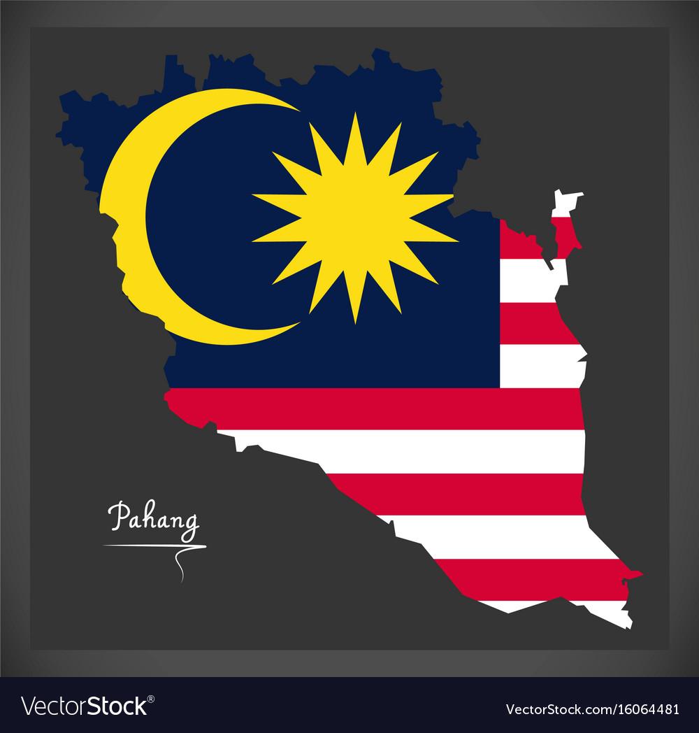 Pahang malaysia map with malaysian national flag vector image